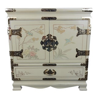 "Quality Hand Painted Chinese Chinoiserie Jewelry Box 16"" Cedar Interior"