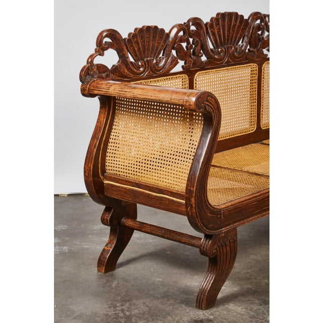 Indonesian Mahogany Settee with Carved Rattan/Wicker Back and Seat - Image 8 of 9