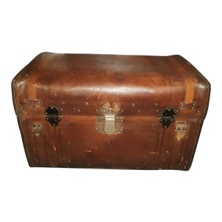 1880's Victorian Era Aesthetic Movement Style Tooled Leather Travel Trunk by George Burroughs For Sale