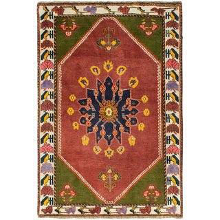 """Sarouk, Hand Knotted Area Rug - 3' 6"""" X 5' 0"""" For Sale"""