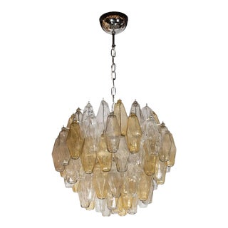 Mid-Century Modernist Polyhedral Chandelier in Smoked Amber and Clear For Sale