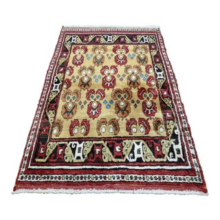 1990s Very Rare Turkish Hand-Knotted Wool Konya Area Rug For Sale