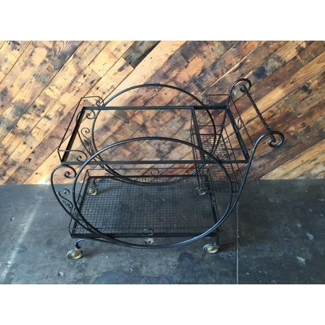 1940's Salterini Wrought Iron Rolling Outdoor Bar Serving Cart - Image 6 of 7