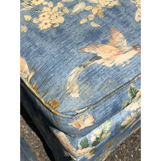 Vintage Pennsylvania House Skirtted Floral Chinosire Slipper Chairs- A Pair For Sale - Image 9 of 12