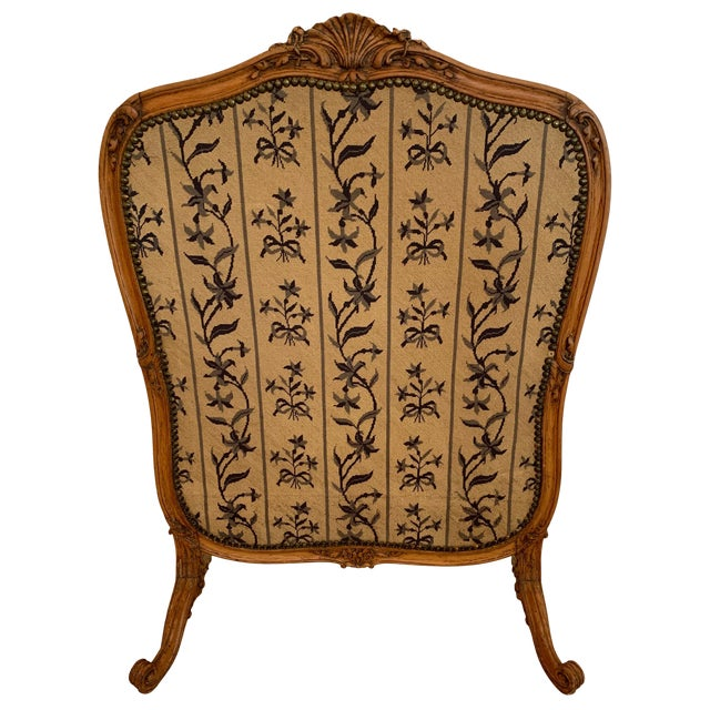 Louis XV Style Antique Upholstered Fireplace Screen For Sale