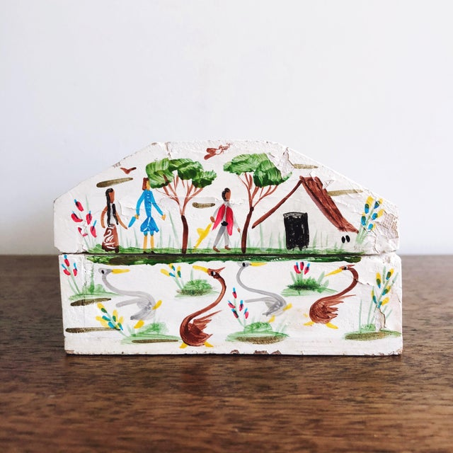 1940s Vintage Mexican Folk Art Hand Painted Wood Box For Sale - Image 5 of 9