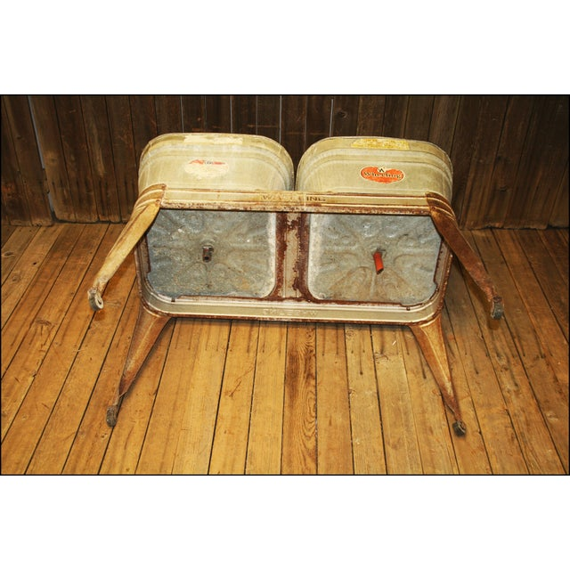 Vintage Wheeling Galvanized Double Wash Tub Stand For Sale - Image 10 of 11