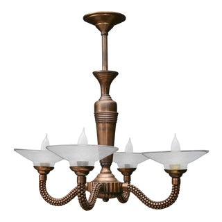 1940s French Industrial Copper 4-Arm Chandelier