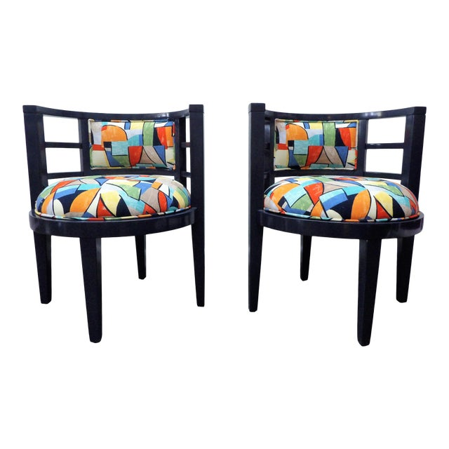 Modern Barrel Style Modern Chairs - a Pair For Sale