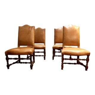 Louis XIII Style Leather Upholstered Chairs Set of 4 For Sale