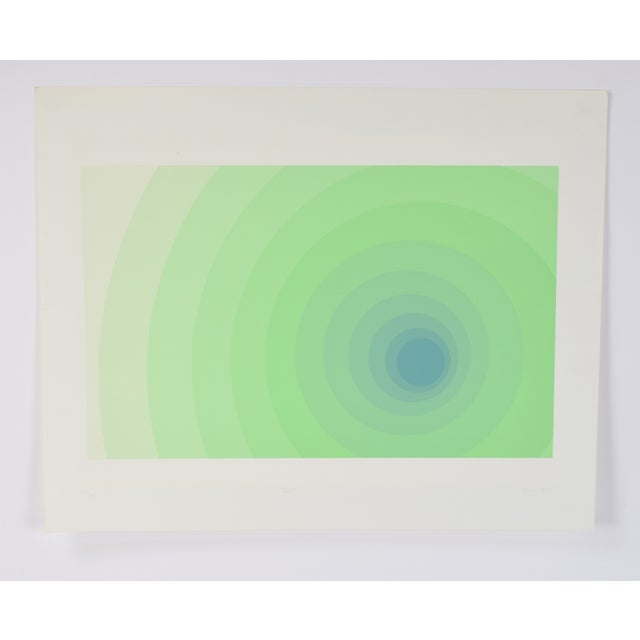 "Lithograph 1973 Vintage Neil Korpi ""vi - 11"" Green Spheres Op Art L/E Lithograph For Sale - Image 7 of 7"