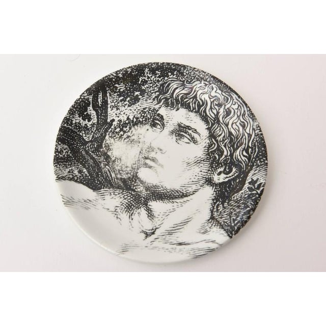 Piero Fornasetti Mid-century Piero Fornasetti Porcelain Coasters Adam or Bareware - Set of 8 For Sale - Image 4 of 10
