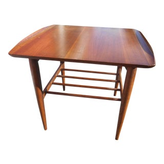 1960s Danish Modern Bassett Artisan Walnut Lamp Table For Sale