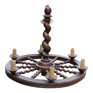 Antique English Oak Barley Twist Round Chandelier Lighting Ceiling Lamp For Sale
