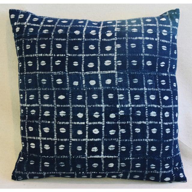 Indigo Blue & White Mali Tribal Feather/Down Pillow - Image 3 of 8