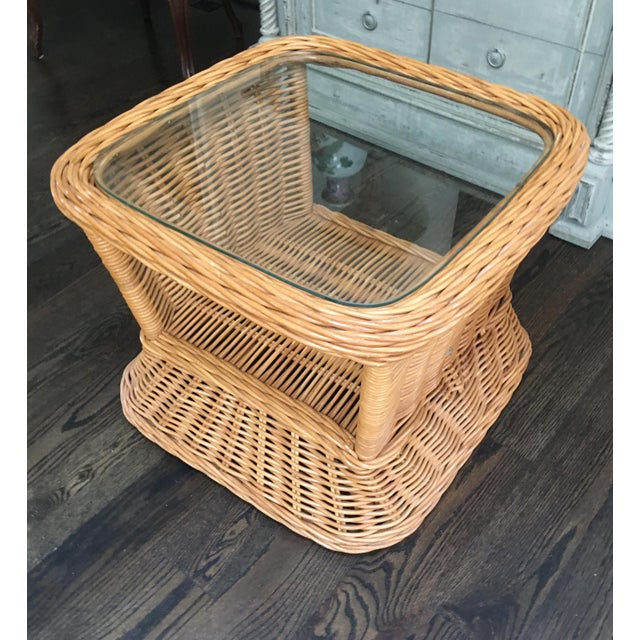 1970s Boho Crespi Style Woven Rattan Wicker Glass Top Bamboo Table For Sale In Kansas City - Image 6 of 7
