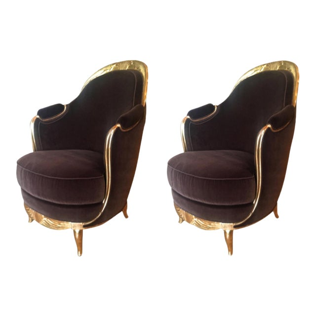 Early French Art Deco Astounding Pair of Gold Leaf Armchairs For Sale
