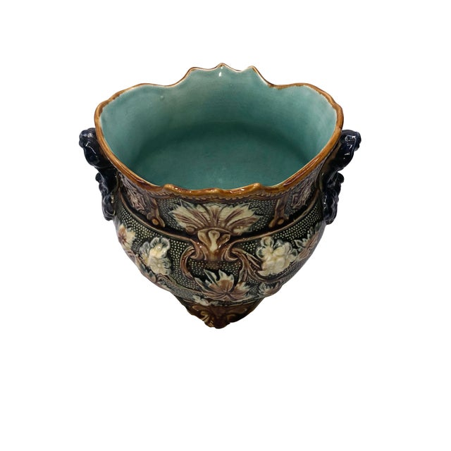 French Antique Majolica Planters - a Pair For Sale - Image 9 of 10