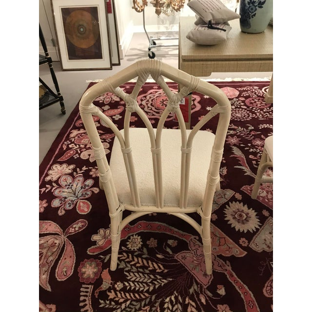 Boho Chic 1960s Off White Rattan Cathedral Back Chairs - Set of 4 For Sale - Image 3 of 7