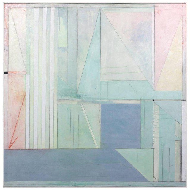 A large square abstract acrylic on canvas painting in a pastel palate in the style of Richard Diebenkorn.