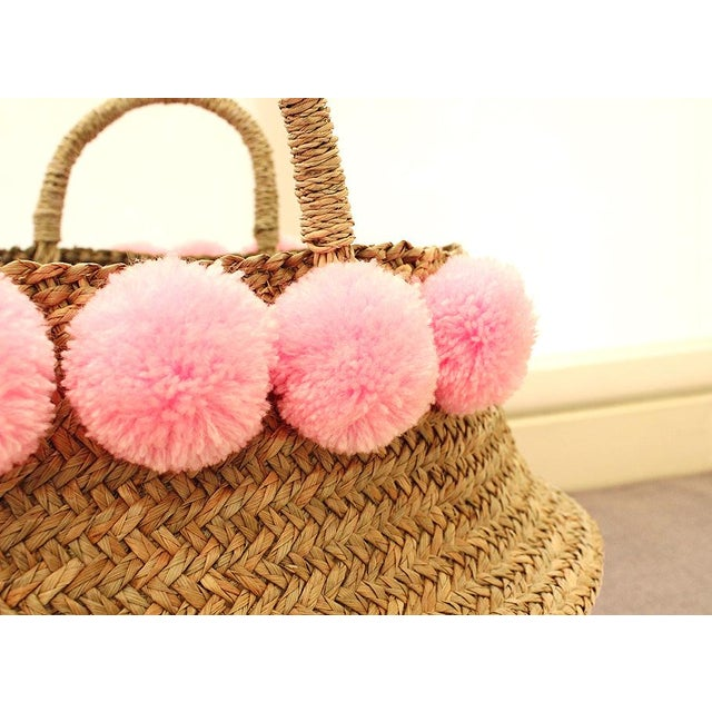 Double Woven Sea Grass Pastel Pink Pom Poms Belly Basket For Sale - Image 4 of 7