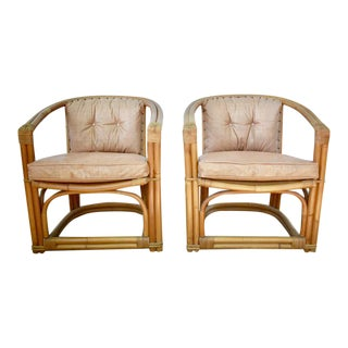 Mid-Century Modern Rattan Upholstered Chairs- A Pair For Sale