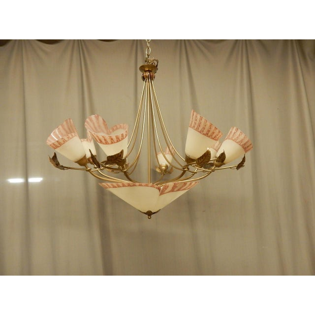 Hand painted glass and tole 8-arm whimsical French vintage chandelier.