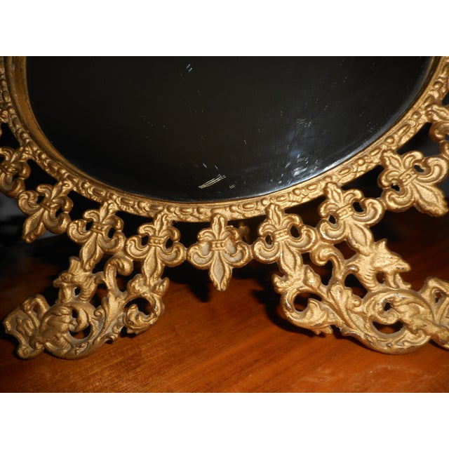 French Vintage Standing Gilt Vanity Mirror For Sale - Image 3 of 5 - Vintage Standing Gilt Vanity Mirror Chairish