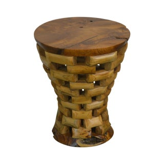 Rustic Round Mixed Stacking Wood Pedestal Side Table For Sale
