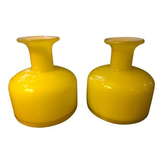 1960s Pop Yellow Holmegaard Candlestick Vases - a Pair For Sale