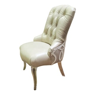 Fancy Taupe Leather Button Tufted Accent Arm Chair W/ Acrylic Legs For Sale