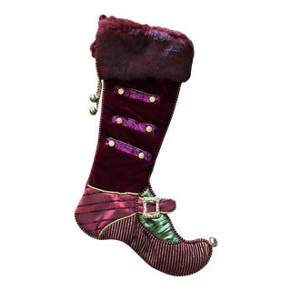 Purple, Burgundy & Green Festive Holiday Fireplace Stocking For Sale