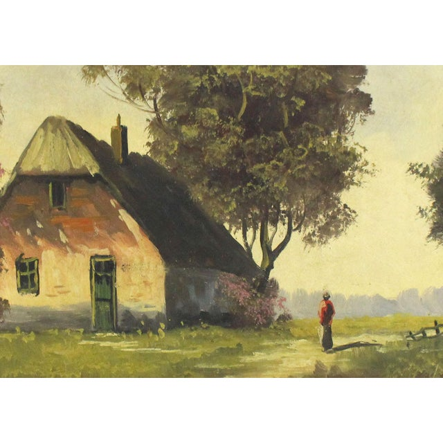 1960s Vintage 1960s Cottage Barn Oil Painting - Signed and Framed For Sale - Image 5 of 6