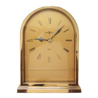 Vintage Howard Miller Brass Mantle or Shelf Clock For Sale
