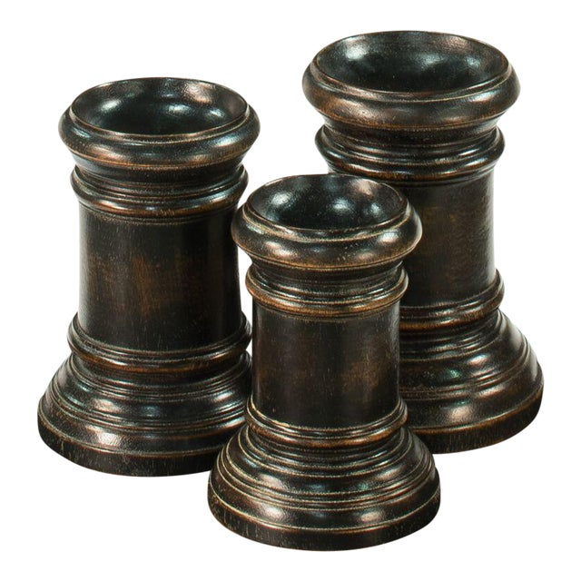 Round Wood Decorative Bases - Set of 3 For Sale