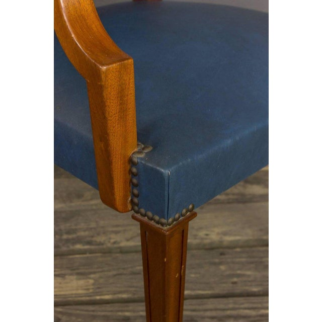 Blue Pair of French, 1940s Mahogany and Leather Armchairs For Sale - Image 8 of 10