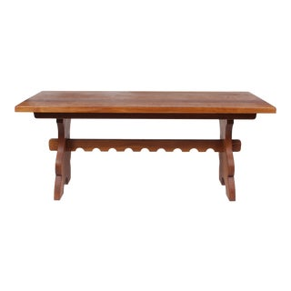 Mid-Century Belgian Slab Oak Refectory Table