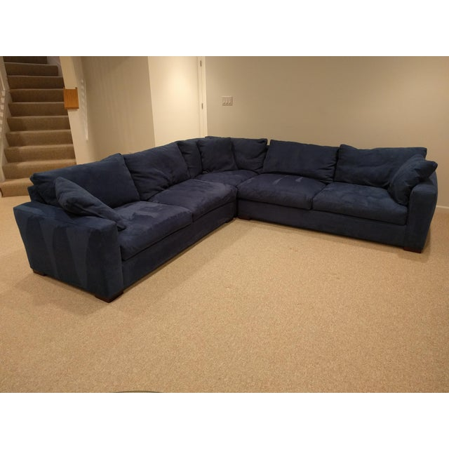 Deep blue, utterly comfortable Room and Board micro-suede (Desmond fabric) sectional from the Metro line. Go formal,...