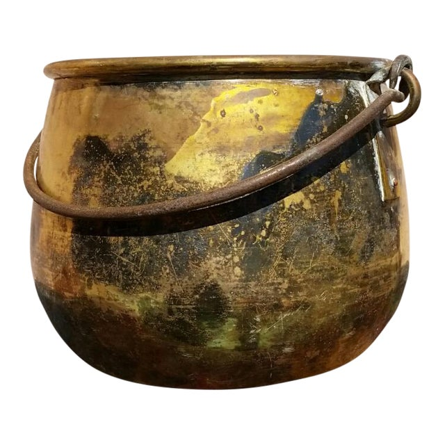 Large Brass Handled Pot - Image 1 of 6