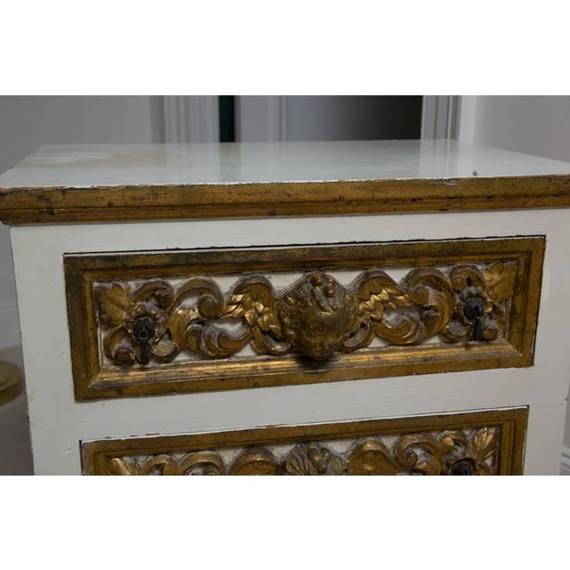 Glass Pair of Italian White and Parcel-Gilt Chests For Sale - Image 7 of 11