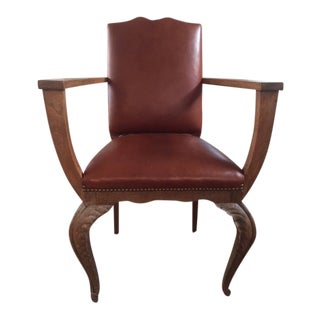 1920's Vintage French Leather Bergere For Sale