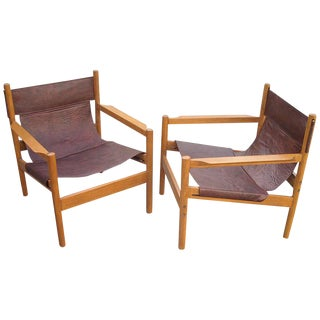 1960s Vintage Michel Arnoult Sling Leather Safari Chairs - A Pair For Sale