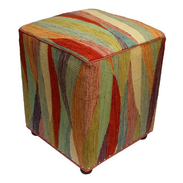 Blue Arshs Cortney Ivory/Rust Kilim Upholstered Handmade Ottoman For Sale - Image 8 of 8