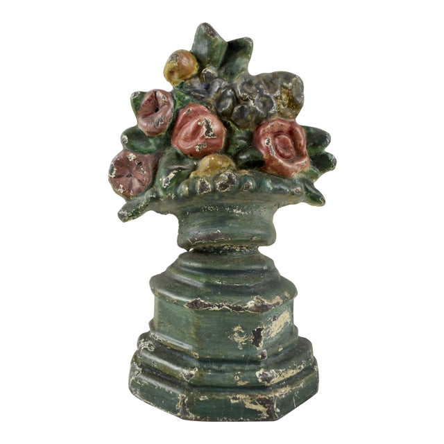 Hubley 1930s Cast Iron Petite Floral Green Urn Doorstop For Sale