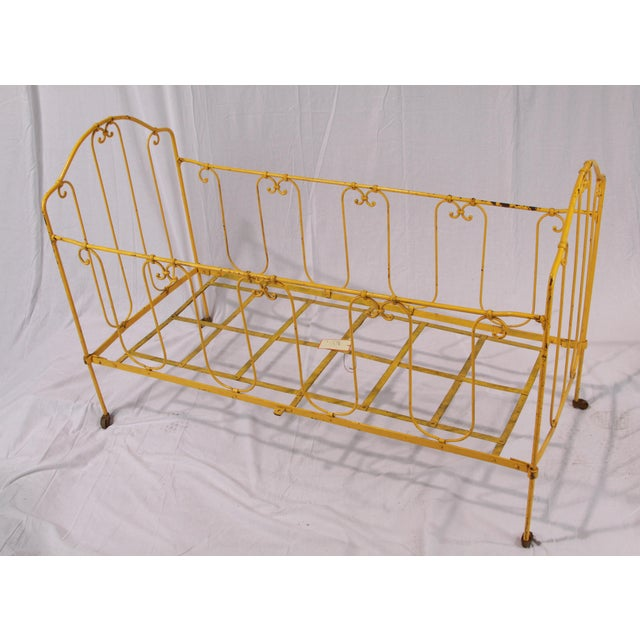 Vintage French Yellow Daybed For Sale - Image 4 of 8