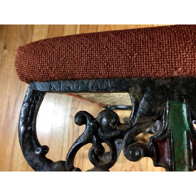 Orange Kingman Needlepoint & Cast Iron Claw Foot Stool For Sale - Image 8 of 11