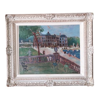 """1930s """"Luxembourg Gardens, Paris"""" Oil Painting by Moura Chabor, Framed For Sale"""