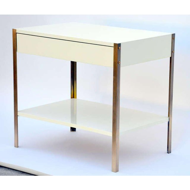 Contemporary Pair of Minimalist Ivory Lacquer and Brass Nightstands For Sale - Image 3 of 11