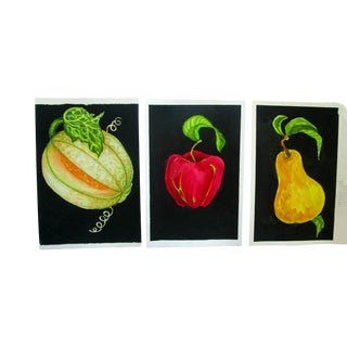 Contemporary Lynne French Gallery Wall Garden Fruit Paintings - Set of 3 For Sale