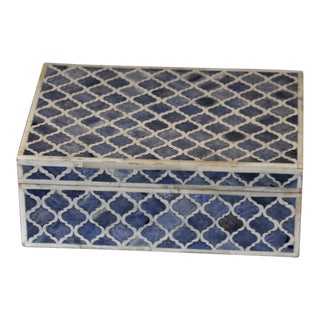Handmade Bone Inlay Blue Box